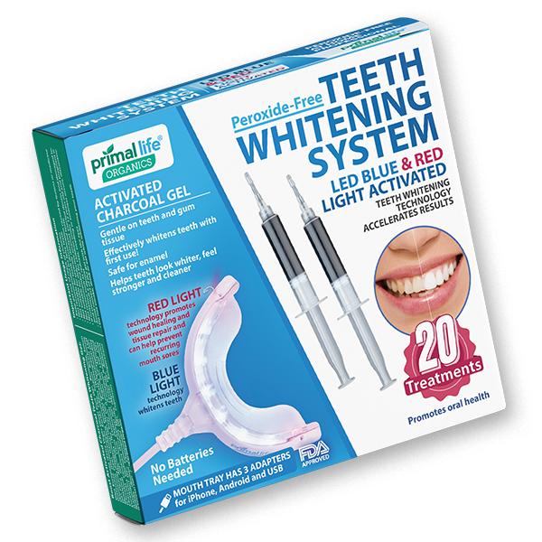 LED Teeth Whitening System box from Primal Life Organics